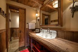 rustic wood logs with medicine cabinet bathroom rustic and wooden