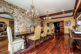 Long Dining Room Chandeliers Amazing Classic Dining Room Design With Bricks Wall And Crystal