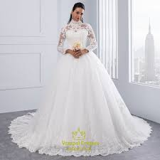 wedding dress high neck high neck sleeve lace embellished a line gown wedding