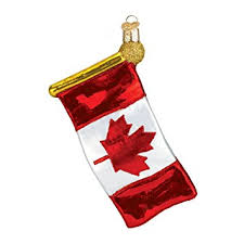 world canadian flag glass blown ornament