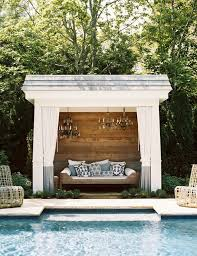 Outdoor Cabana Curtains Pool Cabana With Chandeliers Transitional Pool