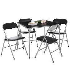 White Patio Dining Table And Chairs Black Ikayaa 5pcs Foldable Kitchen Patio Dining Room Table Chairs