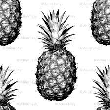 black and white pineapples medium tiling pattern wallpaper