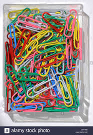 color paper a set of color paper clips in plastic box stock photo royalty
