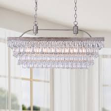 Crystal Drops For Chandeliers Antique Silver 6 Light Rectangular Glass Droplets Chandelier