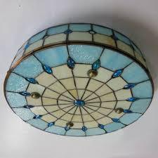 Glass Flush Mount Ceiling Light 16 Inch Blue Stained Glass Tiffany 3 Light Flush Mount Ceiling