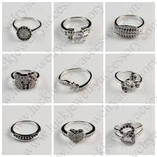 small rings design images Unique beautiful small white zircon and black diamond silver jpg