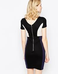 colourblock manhattan pencil dress by french connection white black