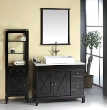 Bathroom Vanity Sink Combo Black Syained Wooden Bath Vanity With White Marble Countertop And