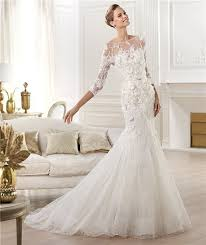 lace wedding dresses with sleeves illusion neckline open back three quarter sleeve lace wedding dress