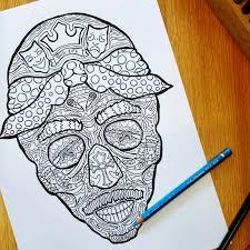 tupac sugar skull complicated coloring
