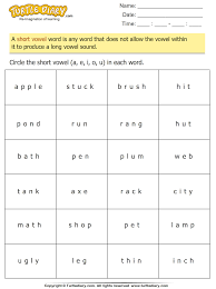 identify and circle the short vowel in each word worksheet