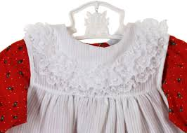 bryan red dress with white ruffled pinafore baby girls christmas