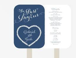 Nautical Wedding Programs Wedding Program Fan U2013 Xo Bspoke