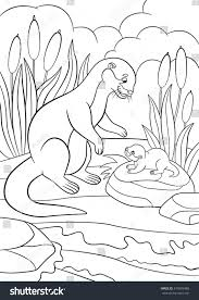 coloring pages mother otter looks her stock vector 473909488