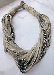 chain leather necklace images Beige leather bib necklace with gunmetal chains strand statement jpg