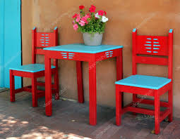 Vintage Wood Chairs Old Vintage Red Wooden Chairs And Table U2014 Stock Photo