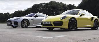 jaguar f type vs porsche 911 2016 porsche 911 turbo facelift humiliates jaguar f type svr in 1