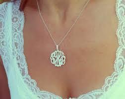 silver monogram necklace monogram necklace etsy