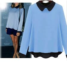 baby blue blouse t shirt baby blue sleeve fit