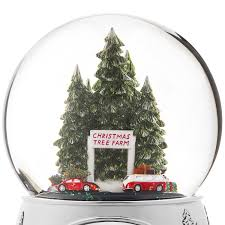 tree farm snow globe