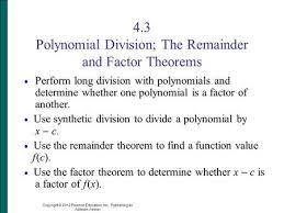 polynomial synthetic division ppt download