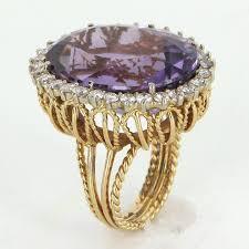 amethyst engagement rings large amethyst diamond cocktail ring vintage 18 karat gold estate
