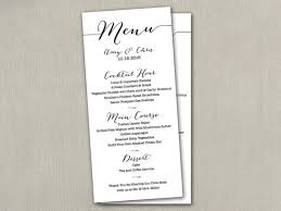 wedding program dimensions wedding menu card diy wedding menu printable by saedesignstudio
