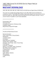 1992 1998 honda dio 50 sk50 service repair manual pdf