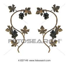 stock illustration of metallic grape leaves and cluster ornaments