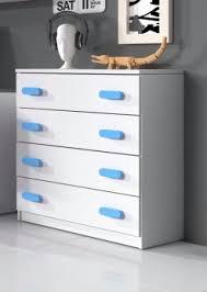 commode chambre garcon commode enfant contemporaine 4 tiroirs coloris blanc bleu myke
