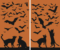 amazon com wowindow posters cats u0026 bats silhouettes orange and