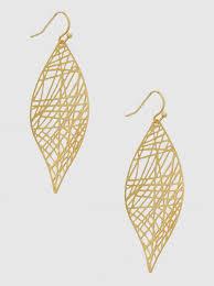 metal leaf stencil cutout drop earrings 10 e8067 mg matt gold