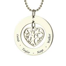 childs name necklace heart family tree name necklace silver engraved kids name necklace