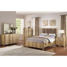 light wood finish faux leather headboard queen bed