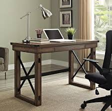 Home Office Furniture Indianapolis Industrial Writing Desk Wood Grey Gray Modern Metal Rustic