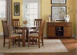 Urban Mission Leg Table  Piece Dining Set In Dark Mission Oak - Oak dining room sets with hutch