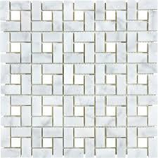 Marble Mosaic Tile Shop Anatolia Tile Carrara Pinwheel Basketweave Mosaic Marble Wall