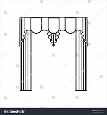 classic curtains sketch window decorations stock illustration