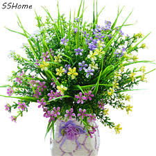 plastic flowers artificial plants grass floral plastic flowers green purple