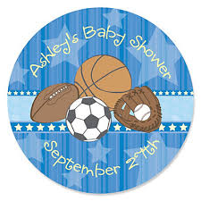 all baby shower all sports personalized baby shower sticker labels 24 ct