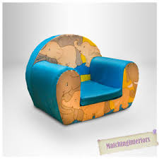 Toddlers Armchair Elephants Blue Childrens Kids Comfy Foam Chair Toddlers Armchair