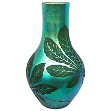 french deco iridescent acid etched art glass vase 1920s for sale