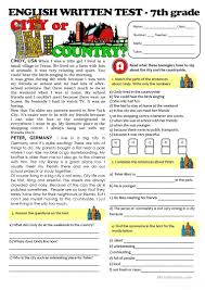 reading comprehension test for grade 4 city vs countrylife test 7th grade worksheet free esl