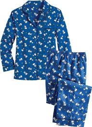 womens snoopy and woodstock broadcloth cotton pajamas