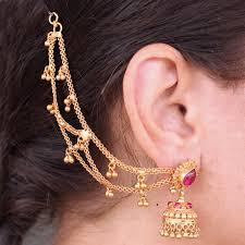 jhumka earrings with chain traditional jhumka earrings ear chain for wedding madhurya