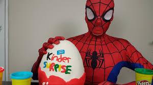 spiderman opening giant plah doh kinder surprise egg surprise toys