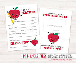 thank you cards for teachers printable thank you card card end of year