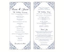 Downloadable Wedding Program Templates Wedding Program Template Diy Editable Text Word File Download