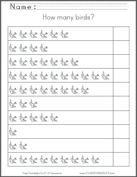 Grade 1 Counting To 20 Worksheets How Many Birds Free Printable 1 10 Counting Worksheet For